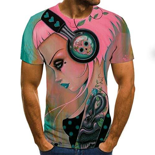 LKFTH Bier 3D-Druck T-Shirt Zeit Brief lustige Neuheit T-Shirts Kurzarm Tops Unisex Outfit Kleidung Persönlichkeit M Pink