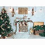 Fondo de fotografía de Navidad Chimenea árbol de Navidad Regalos bebé recién Nacido Retrato Foto de Fondo Accesorios de fotografía A26 7x5ft / 2,1x1,5 m