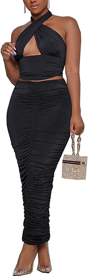 Women Sexy Ruched Halter Dress 2 Piece Sleeveless Cross Crop Tops Stacked Bodycon Skirts Sets Clubwear Dresses