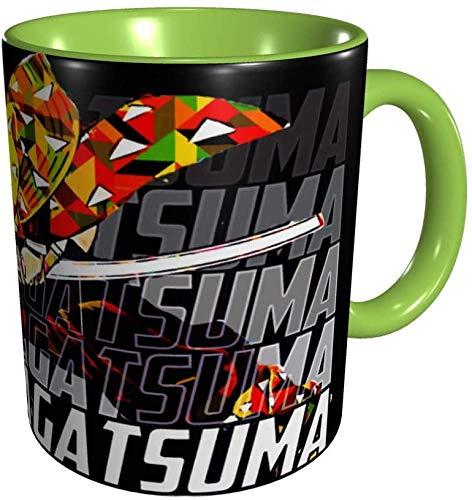 Tazas de personaje Zenitsu Agatsuma Tazas de café de anime Regalo novedoso Taza de café de cerámica Tazas de café de viaje para el hogar Negro-Verde