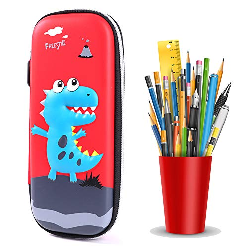 JPYH Estuche para lápices de Dinosaurio Estuche con múltiples Compartimentos Estuche de Lápices con Cremallera de Gran Capacidad Organizador de Papelería para Estudiantes (Rojo)