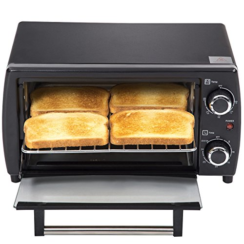 750W 4-Slice Electric Toaster Oven Broiler Pizza Countertop Black New