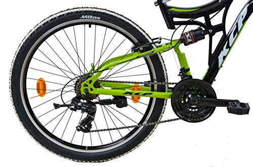 KCP Mountainbike Fully MTB Jugendrad 26″ Zoll Fairbanks mit 21G Shimano Vollfederung schwarz grün - 4