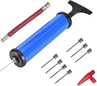 Air Pump, DELFINO Sports Ball Tool Inflator Ball Pump with 7 Pcs Needles, 1 Pcs Valve Adapter and 1 Pcs Air Hose for Footb...