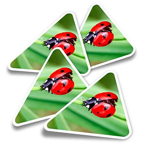 Pegatinas triangulares de vinilo (juego de 4) – Pretty Ladybug Mariquita Insecto Fun Calcomanías para portátiles, tabletas, equipaje, reserva de chatarra, neveras #14303
