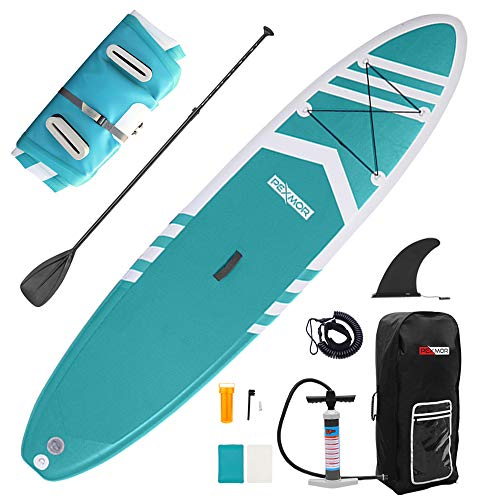 PEXMOR Inflatable Stand Up Paddle Boards for Fishing Yoga Paddle Boarding with SUP Accessories & Carrying Storage Bag Surf Control, Non-Slip Deck, Metal D Rings Youth & Adult 10.5' X 32