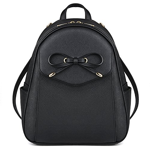 Mini Backpack, COOFIT Leather Backpack Purse Fashion Mini Daypack Small Backpack Purse for Women (Black)