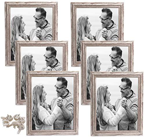Rustikal Bilderrahmen 20x25 cm Holz Bilderrahmen mit Passepartout für Wand, 6er Set