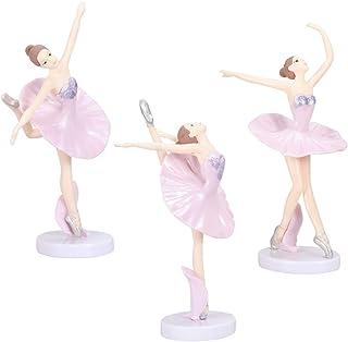 Garneck 3 Piezas Bailarina Bailarina de Ballet Estatua estatuillas Adornos Adornos de Pastel Fiesta de cumpleaños de Navid...