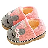 JACKSHIBO Girl Cute Home Slippers Kid Fur Lined Winter House Slippers Warm Indoor Slippers for Boys Cute Heel Pink 6.5-7 M Toddler