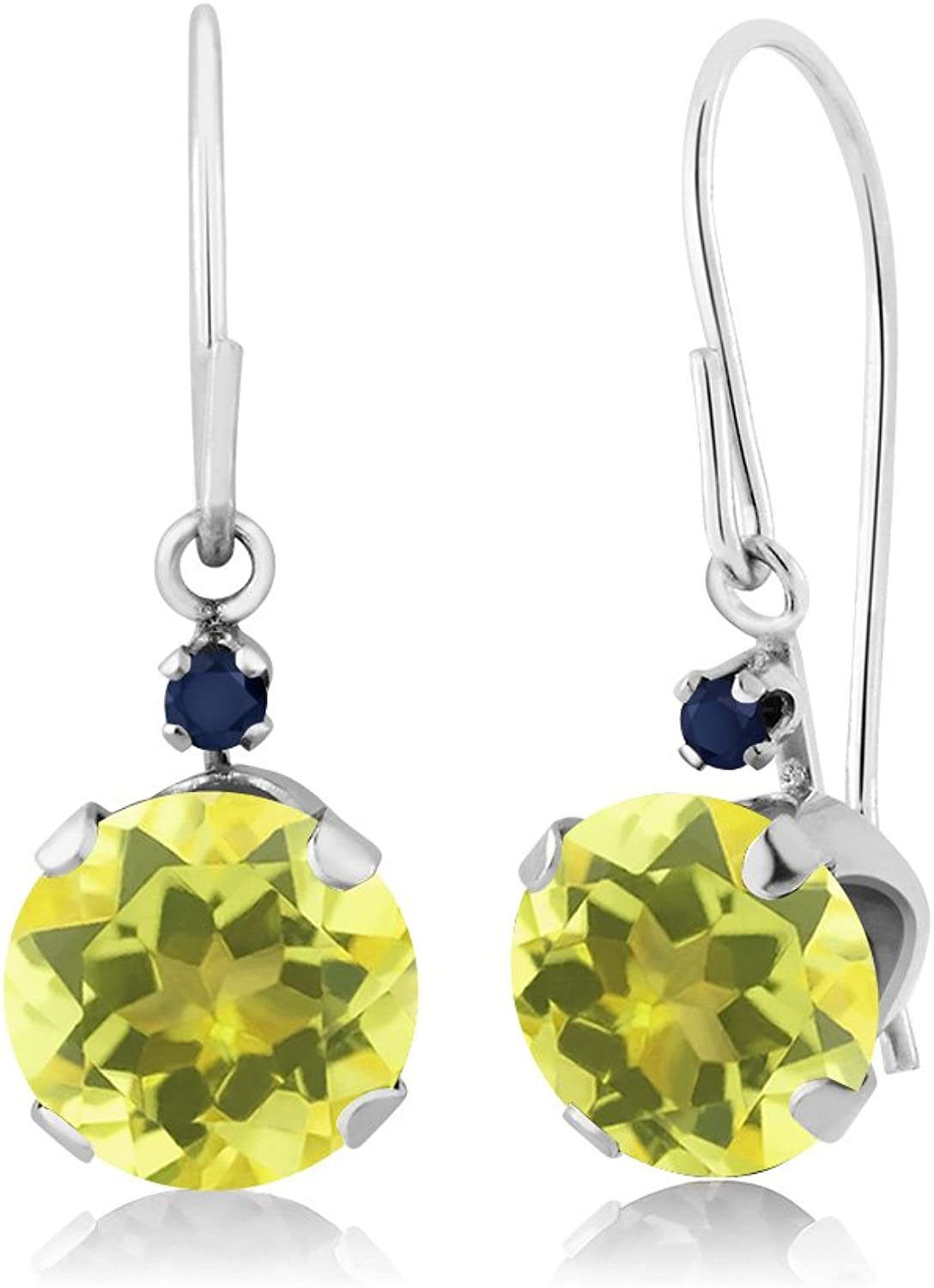 2.04 Ct Round Canary Mystic Topaz bluee Sapphire 14K White gold Earrings