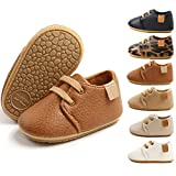 BiBeGoi Baby Boys Girls Oxford Shoes PU Leather Soft Rubber Sole Sneakers  Anti-Slip Toddler Ankle Boots Infant Walking Moccasins(M1976 Brown,2)