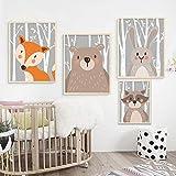 Barhe Juego de 4 pósteres para habitación Infantil - Dibujo Decorativo Animal de Dibujos Animados Conejo Zorro Oso Pintura al óleo Cuadros Infantiles para habitacion niña,21x30cm