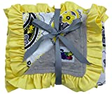 Girls Reversible Minky Dot Stroller Blanket Yellow Paisley