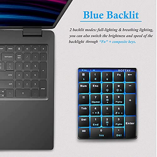 ROTTAY Number Pad, 2.4GHz Wireless Mechanical Numpad Rechargeable 10 Key Blue Switch Backlit Numeric Keypad for Laptop & PC