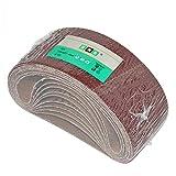 10 bandas de lijado de tejido HKB, 75 x 457 mm, K 40 para lijadoras de banda, calidad profesional para diferentes superficies, fabricante HKB, número de artículo 950725