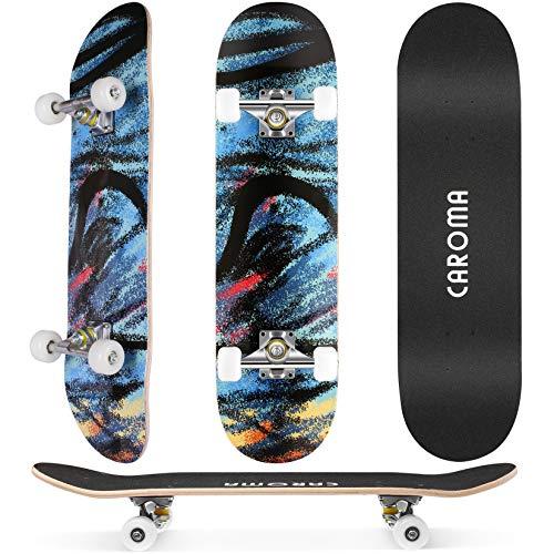 Skateboard Completo 79x20cm para Niñas Niños Adolescentes Adultos Principiantes,9 Capas Monopatín Cruiser de Madera de Arce con Rodamientos ABEC-7 Tabla de Skateboards Longboard (Blue Gorgeous)