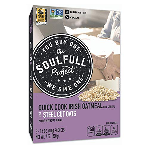 The Soulfull Project Instant Oatmeal Packets, Irish Oats, 5 Individual Servings (Pack of 6), Non GMO, Gluten Free, Vegan