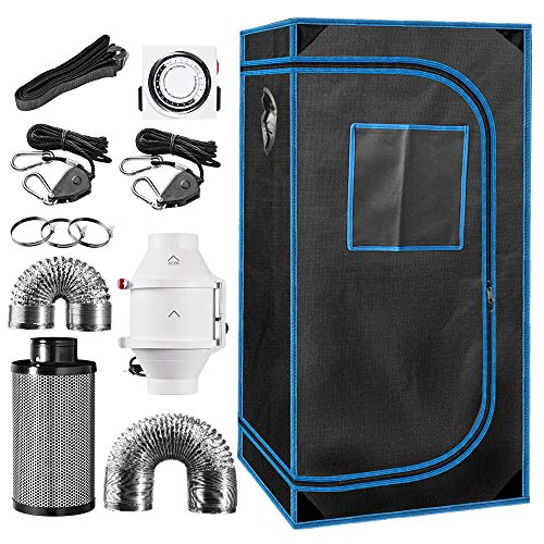 24' x 24' x 48' Indoor Plant Grow Tent Complete Kit, Hydroponics Tent System with 4' Inline Fan + Carbon Filter + Ducting Combos + Timer + Hangers
