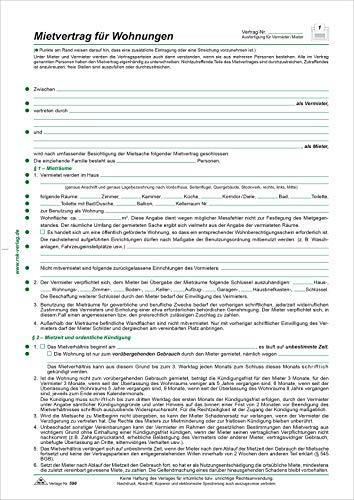 RNK 596/10 - Mietvertrag für Wohnungen Berliner Fassung, DIN A4, 10 Verträge