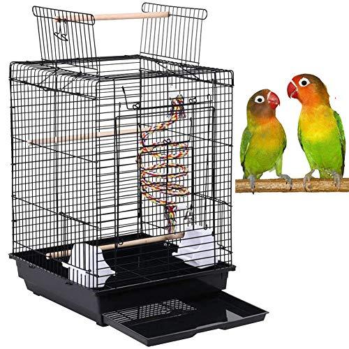 ZXL Offener Vogelkäfig, Vogelkäfig-Tierbedarf, für kanarischen Sittich Nymphensittich Metall Vogelkäfig Kleiner Papagei Reisekäfig