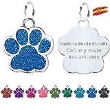FUSIYU Placa Chapa Medalla, Etiquetas de Identificación de Mascotas Etiquetas de Perro Personalizada Grabado para Collar Perro Gato Mascota Grabada Brillantitos Aleación de Zinc, Pata Plata,Azul