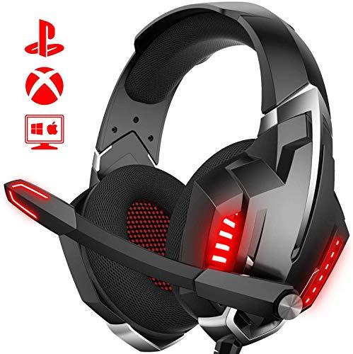 ONIKUMA Cascos Gaming, Auriculares PS4 con Sonido envolvente Efecto de cancelación de ruido Micrófono y luz LED, Auriculares Gaming Compatible con Xbox One/ PC /Laptop