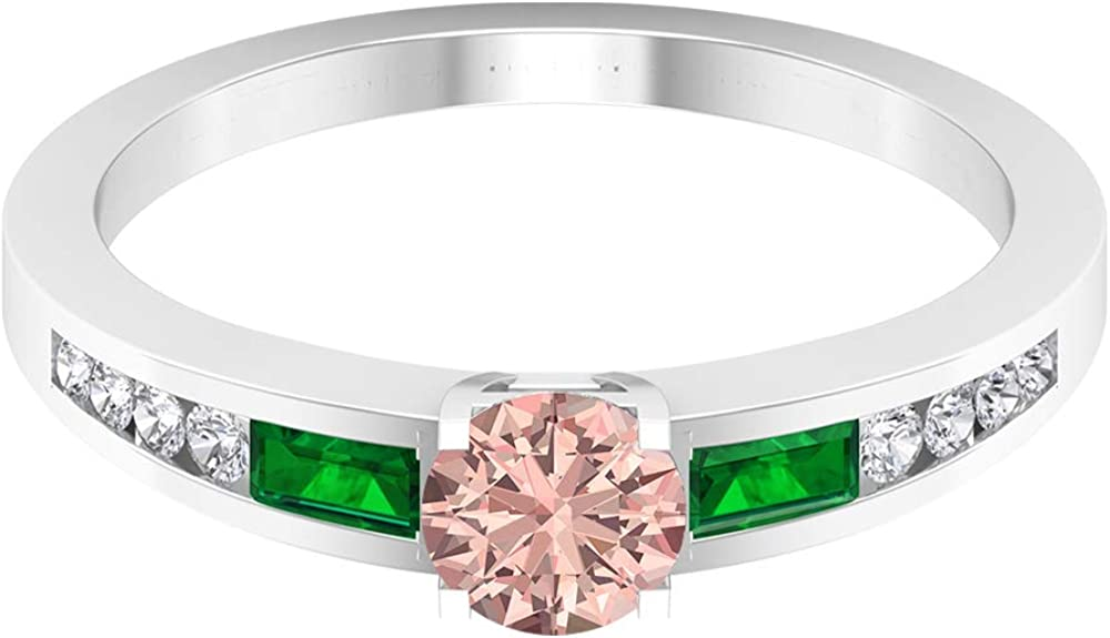 5 MM Lab Created Morganite Ranking TOP18 Solitaire Ring Em Sales results No. 1 4 CT