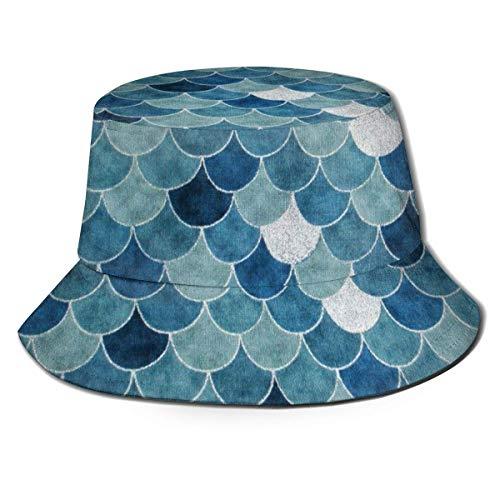 Mermaid Fish Scales 9 Sombreros para Hombres al Aire Libre Sombrero de Cubo Gorra de pez Hombres Sombrero de Sol de ala Ancha