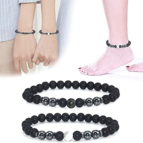 2 tobilleras de obsidiana negra antiinflamable con imán ajustable para pérdida de peso, pulsera magnética para el cuidado de la salud
