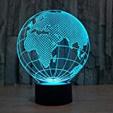 YKLWORLD Europe Globe 3D Illusion Lamp Led Night Light with 7 Colors Flashing & Touch Switch USB Powered...