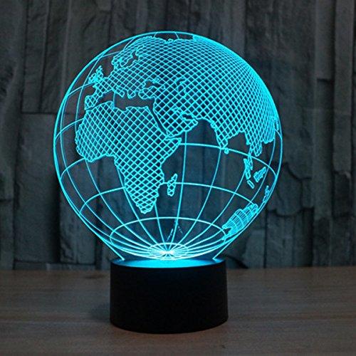 3D Lampe Illusion Globe Europe LED Veilleuse Optique Lumière de Nuit 7 Couleurs Tactile Lampe de Chevet avec Câble USB Déco à Éclairage pour Table Garçons Anniversaire Cadeau de Noël