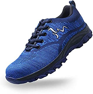 SUADEX Steel Toe Shoes Men, Womens Work Safety Shoes Industrial Construction Sneakers, Outdoor Hiking Trekking Trail Composite Shoes,Blue-39