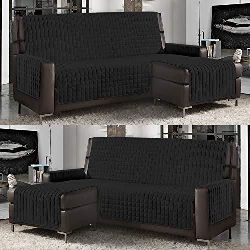 Banzaii Funda de Sofá Cubre Chaise Longue Acolchada Lisa 3 Plazas (240 cm) con Chaise Longue Izquierda/Derecha Negro