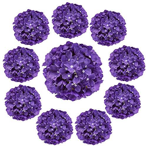 Cotemdery Hortensias artificiales, 10 unidades, flores de hortensias de seda con tallo para arreglos florales, decoración de mesa, decoración de boda, hogar, morado oscuro