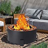 GIODIR Smokeless Fire Pit Outdoor Wood Burning, 32 Inch Steel Large Stove Bonfire Double Flame Fire Pit Portable Firepit for Outside, Backyard, Camping, Picnic, Garden w/ 1 Pokers and Cover, Black