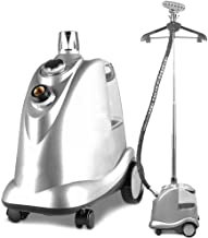 Side Drain Fabric Steamer, 3 Liters, 50 Minutes Continuous, 4 Speed Steam Adjustment, With Chrome Hook/Hanger/Pants Clip, 3 Liters, Red/Silver (Color : Silver)