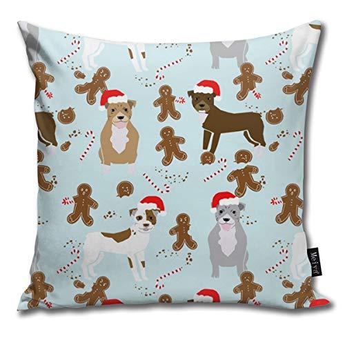 Pitbull - Funda de cojín decorativa de perro de jengibre de Navidad para hornear patas, diseño de perro de Papá Noel, funda de cojín decorativa para habitación, dormitorio, sofá, silla de coche, 50,8 x 50,8 cm