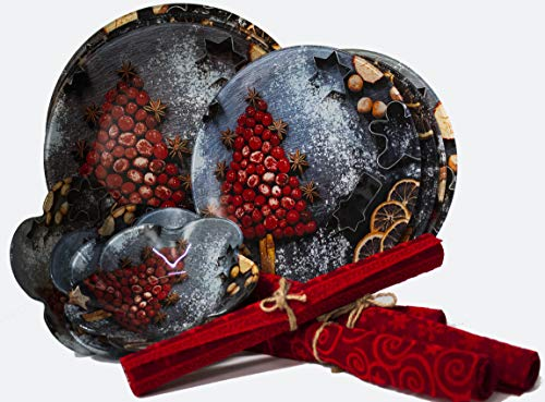 Gojoy Shop- Juegos de Vajilla Vidrio,Navidad,16 Piezas para 4 Personas,Contiene 4 Cuencos,Platos Ø 30cm,Platos Ø 25cm...