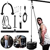 Alrigon 3 in 1 Pulley Cable System, Pulley System Gym LAT Pulldown Attachments for Arm Strength Trainer Bicep Curls Triceps Extensions Home Gym Cable System
