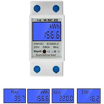 A 220V Digital LCD Stromzähler KWh Zähler Wechselstromzähler Hutschiene DE 40 10