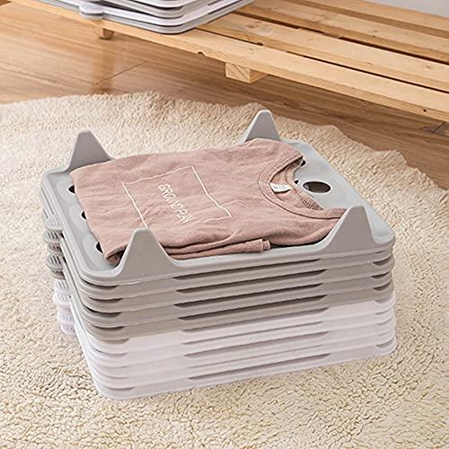 YGMXZL 10 PCS Organizador de Camisetas,Organizadores de camisas,Estante para Camisa y Camiseta,Carpeta Organizadora De Ropa,Resistencia a la Humedad y Las Arrugas (gris, Small)