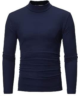 Pullover Sweatshirt for Men's Pure Color Turtleneck Long Sleeve T-Shirt Top Blouse Autumn Winter Warm Pullover Shirt