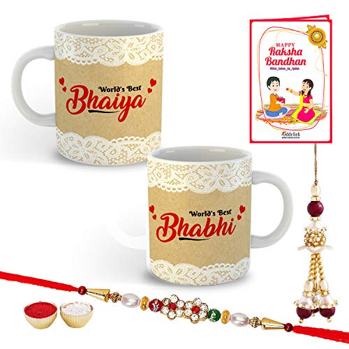 ODDCLICK Bhaiya Bhabhi Cotton Rakhi with Mug Set