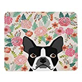 Wozukia French Bulldog Mouse Pad Cute Frenchie Puppy Among The Flowers Pet Portrait Pink Green Black Mouse Pad Computer Accessories Home Office Space Decor Gaming Mouse Pad Design 9.5 X 7.9 Inch