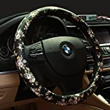 BINSHEO PU Leather Floral Auto Car Steering Wheel Cover,for Women Girls Ladies,Anti Slip Non-Toxic Universal 15 Inch,Chinese Style,Black with Flowers
