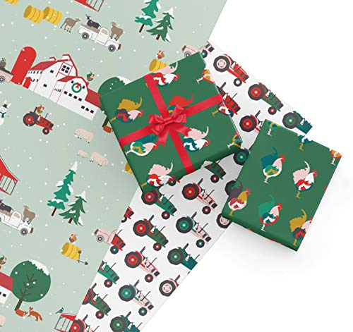 Farm Christmas Wrapping Paper Sheets, 9 Sheets of Christmas Giftwrap with Barns, Pigs, Goats, Roosters, Tractors