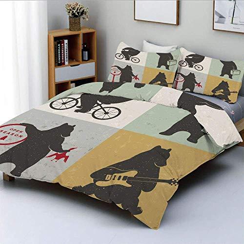 Juego de funda nórdica, marcos divertidos en estilo de dibujo Mascota Hunter Biker Músico Viajando Pantalla Grunge Decorativo Decorativo Juego de cama de 3 piezas con 2 fundas de almohada, Multicolor,