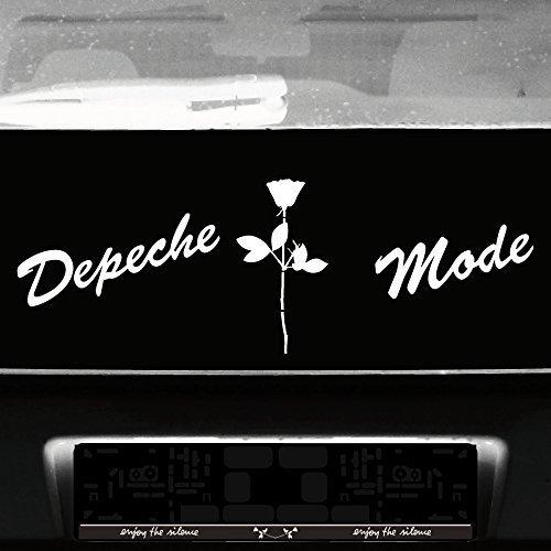GreenIT Set Schreibschrift Schriftzug und Rose Aufkleber Tattoo die Cut car Decal Auto Heck Deko Folie Depeche Mode (Weiss)