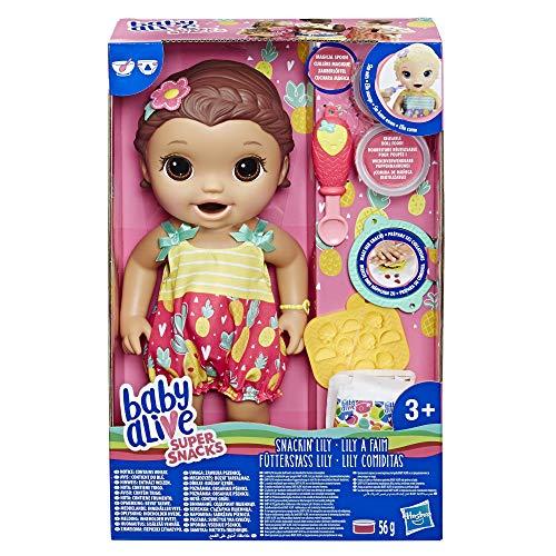 Baby Alive Super Snacks Fütterspaß Lily, braunhaarige Babypuppe, die isst, mit wiederverwendbarer Baby Alive Puppennahrung, Löffel und 3 Accessoires, ca. 30 cm. Groß